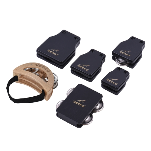 GECKO GK Series Cajon Box Drum Companions Set Including Castanets Jingle Bells Foot Tambourine Percussion Instruments