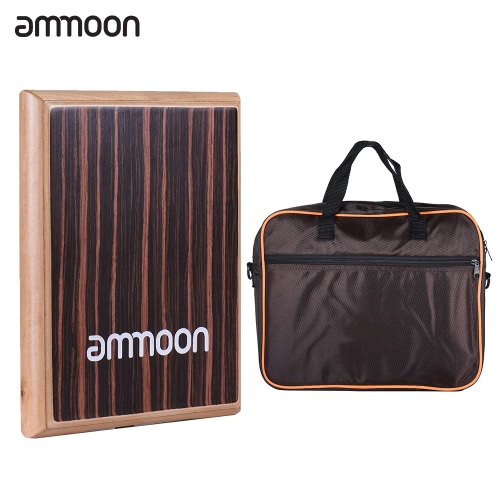 ammoon Compact Travel Box Drum Cajon Flat Hand Drum Percussion Instrument with Adjustable Strings Carrying Bag