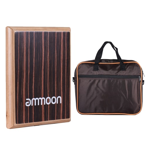 Compact Travel Box Drum Cajon Flat Hand Drum Percussion Instrument with Adjustable Strings Carrying Bag