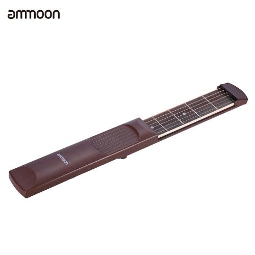 ポータブルポケットアコースティックギター練習ツールガジェット和音トレーナー6文字列初級学習者のための6フレットモデルローズウッド指板木目ammoon