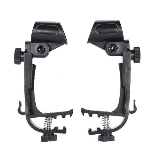 2pcs Clamp Clip On Drum Rim Microphone Mic Mount Holder Adjustable Shockproof
