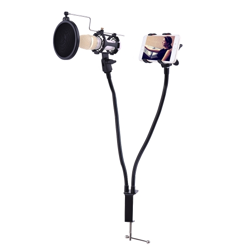 Professional Phone Microphone Mount Stand Bracket Supporter Holder Kit 360 Degree Angle Adjustment for MV Studio Recording Singing Karaoke Broadcasting Chatting Black