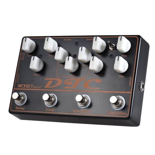 MOSKY DTC 4-in-1エレクトリックギターエフェクトペダルディストーション+オーバードライブ+ループ+ディレイ