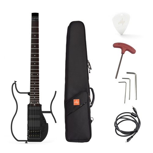 ALP AD-80 Professional Foldable Headless Travel Electric Guitar Built-in Headphone Amplifier & Rechargeable Lithium Battery with Gig Bag