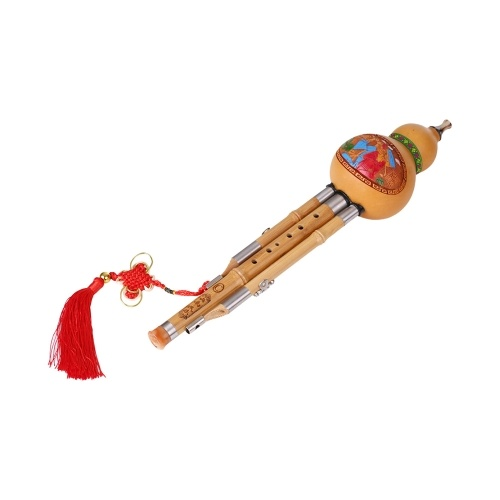Treble C-Key Hulusi Cucurbit Flute Bottle Gourd Silk Bamboo Pipes Chinese Traditional Instrument with Chinese Knot Carry Case for Beginners Musical Gift