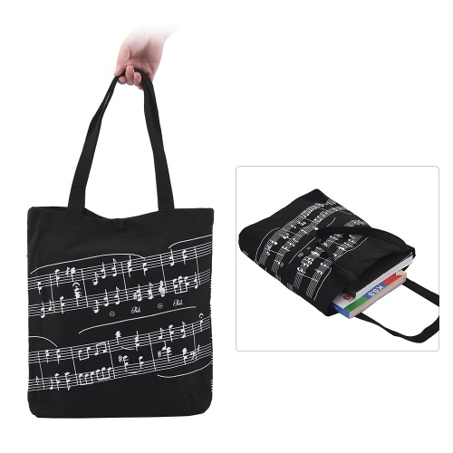 Toile de coton lavable sac à main musique fourre-tout épicerie sac à provisions avec bouton magnétique motif de notation musicale