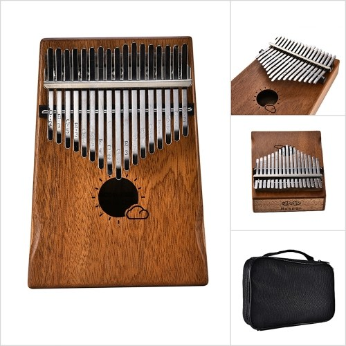Muspor 17 Key Kalimba Mbira African Mahogany Thumb Piano Finger Musical Instrument with Bag