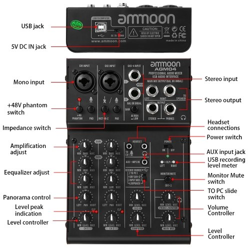 ammoon 4-Channel Mixing Console Digital Audio Mixer 2-band EQ ...
