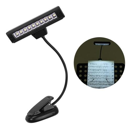 Зажим для музыкальной подставки. 10 светодиодных защитных очков. Настольная лампа для чтения. Регулируемая шея. Настольный светильник для музыкальных инструментов.