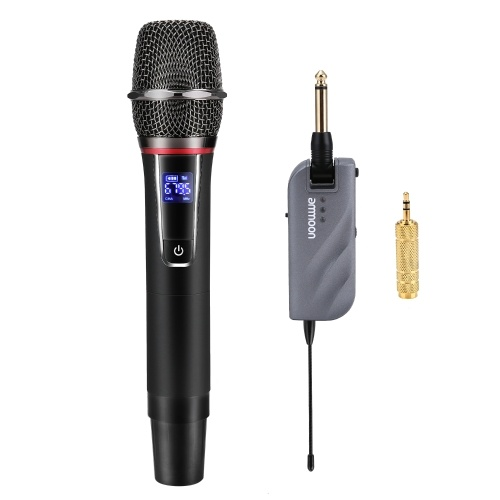 ammoon UHF Wireless Microphone Mic System 10 Channels with 1 Handheld Microphone + 1 Mini Receiver for Karaoke Business Meeting Speech Home Entertainment