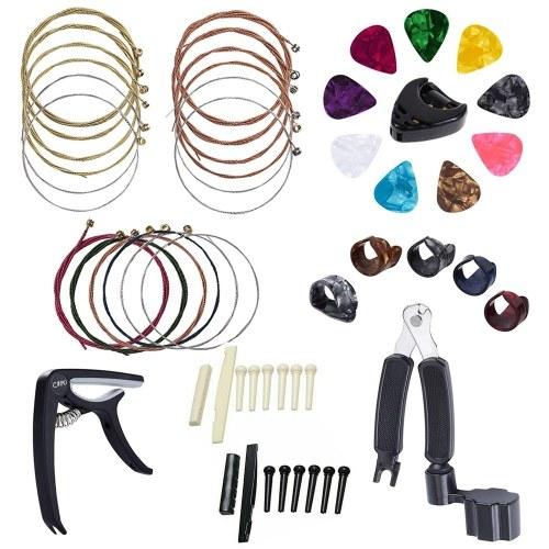 34Pcs Guitar Accessory Kit Guitar Picks Capo Acoustic Guitar Strings Bridge Pins Bone Strings