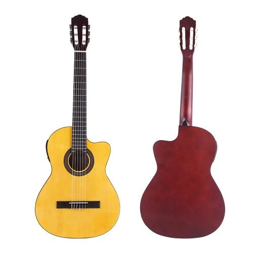 ammoon CGE-12 39 pollici chitarra classica EQ a 6 corde con spalla mancante