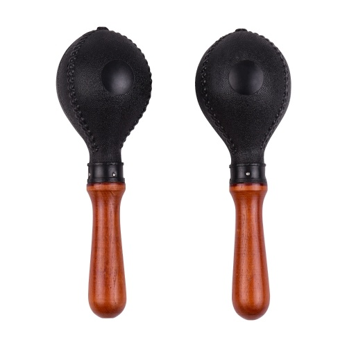 Pair of Wood Maracas Sand Hammer Percussion Instrument with Plastic Shells Wood Handle
