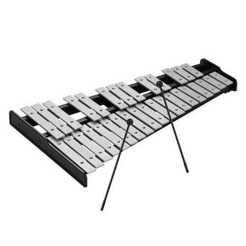 32-Note Xylophone Educational Glockenspiel Wooden Base Solid Aluminum Bars