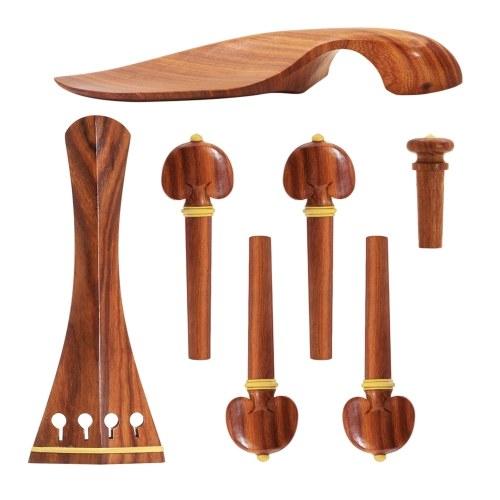 Muslady 4/4 Violine Zubehörteile Set Rot Massivholz mit Saitenhalter Kinnstütze Ende Pin Stimmwirbel