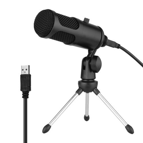 USB-Kondensatormikrofonset Professionelles Mikrofonsystem mit faltbarem Mikrofonstativ-USB-Netzkabel