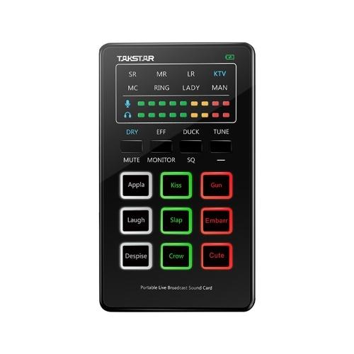TAKSTAR MX1 Mini-Soundkarte Sprachwechsler Tragbares Audio-Mischpult BT-Verbindung Typ-C-Schnittstelle