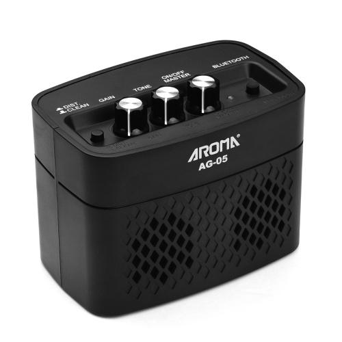 AROMA AG-05 Bluetooth E-Gitarrenverstärker 5-Watt Stereo-Ausgangsverzerrung Gain Tone Control 3.5mm Überwachung 6.35mm Eingang mit wiederaufladbarem 2200mAh Akku