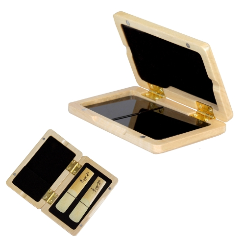 Solid Wood Reed Case Wooden Holder Box for Tenor/ Alto/ Soprano Saxophone Clarinet Reeds, 2pcs Capacity