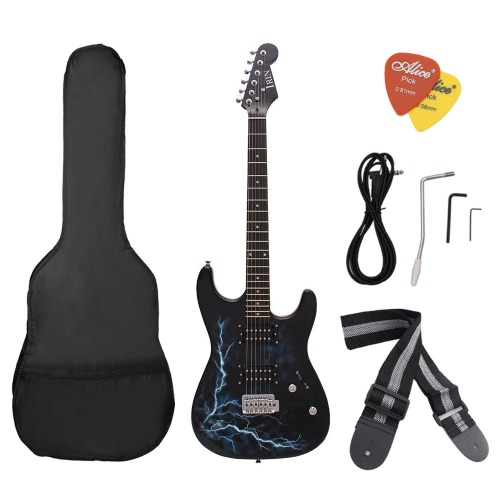デュアル デュアル ピックアップ仕様のエレク トリック ギター バスウッド ローズウッド指板クールな雷なボディ形状の Gig バッグおすすめストラップ初心者のため