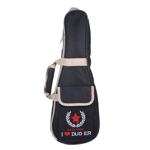 21「ウクレレバッグケースバックパック調節可能なショルダーストラップポータブル6ミリメートル厚みのパッド入りブラック