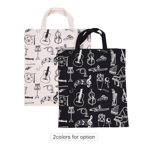 Cartoon Muscial Instruments Patterns Washable Cotton Cloth Handbag Music Tote Shoulder Grocery Shopping Bag for Students Girls