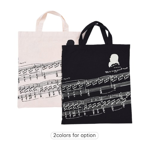 Musical Notation Pattern Washable Cotton Cloth Handbag Music Tote Shoulder Grocery Shopping Bag for Students Girls
