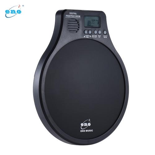 Eno DEM-40 Multifunktion 3 in 1 Tragbare elektrische Digital-Praxis Trommel-Pad mit Metronom / Zähl- / Geschwindigkeitserkennungsmodus Weiß