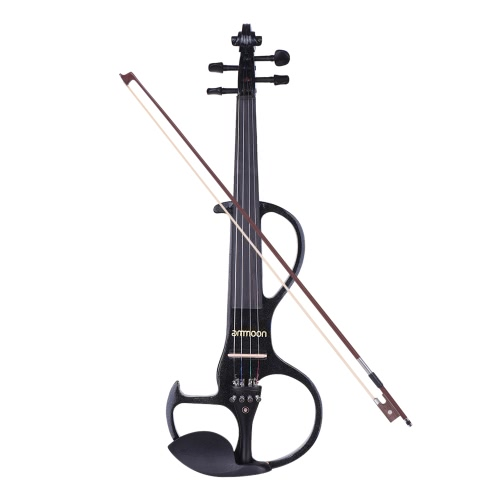 Munição Full Size 4/4 Madeira maciça Electric Silent Violin Fiddle Style-3 Ebony Fingerboard Pegs Chin Rest Tailpiece com arco Hard Case Tuner Auscultadores Rosin Extra Strings & Bridge