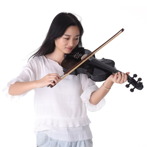Full Size 4/4 Acoustic Electric Violin Fiddle Solid Wood Body Ebony Fingerboard Pegs Chin Rest Tailpiece with Bow Hard Case Tuner Shoulder Rest Rosin Extra Strings & Bridge White Color