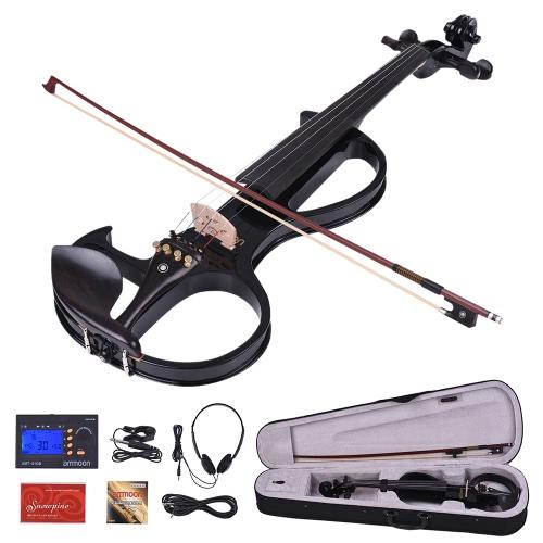 Amunicja VE-207 Pełny rozmiar 4/4 Solid Wood Silent Elektryczny skrzypce skrzypcowe Klon Ebony Kołki do fingerboard Podwójny odpoczynek z kieszonkami ze słuchawkami Tuner z twardą torbą Rosin Kabel audio Extra Strings Black