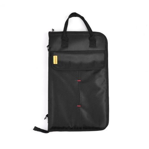 ammoon Zippered Drum Stick Drumsticks Mallet Bag Case with External Pockets Floor Tom Hooks Carrying Handel Shoulder Strap