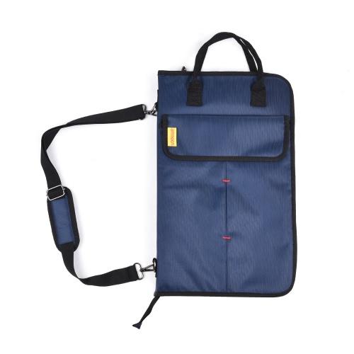 ammoonジッパー式ドラムスティックドラムスティックマレットバッグケース、外部ポケットフロアトムフック付き携帯用ショルダーストラップ