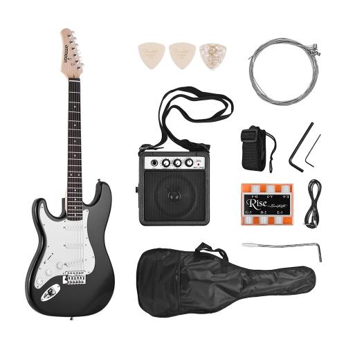 ammoonエレクトリックギターソリッドウッド桐生体メイプルネック21フレッツ6弦のスピーカーピッチパイプギターバッグストラップピックレフトハンド