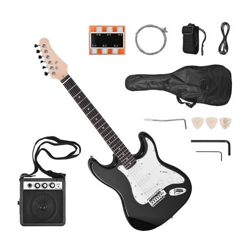 Guitarra eléctrica Madera maciza Paulownia Cuerpo Cuello de arce 21 trastes 6 cuerdas con altavoz Pitch Pipe Guitar Bag Correa Selecciones Mano derecha
