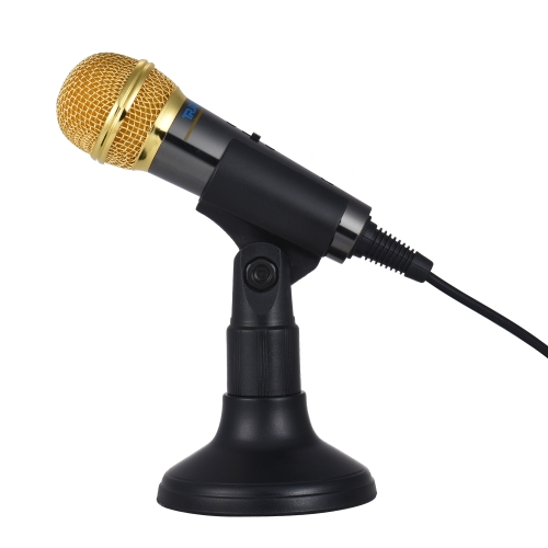 TRanshine PC-309 Mini Vocal / Instrument microfono portatile tenuto in mano Karaoke Microfono di registrazione con supporto a staffa per iPhone Smartphone Android PC Mobile Phone Notebook portatile