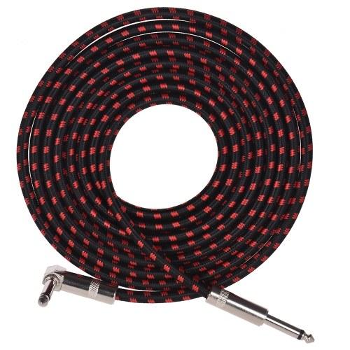 Muslady Электрический гитарный басовый музыкальный приборный кабель с 6,35 мм TRS Прямоугольные вилки с тканой курткой, 3 метра / 10 футов