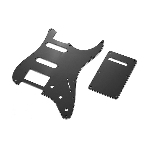 Black 3Ply SSH Guitar Pickguard Scratch Plate and Back Plate Set for American ST Style Electric Guitar