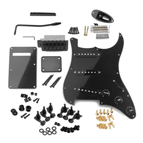 ST Style E-Gitarren-Komplettset für DIY-Zubehör einschließlich vorverdrahteter Pickguard-Brücke, SSS-Pickups und sonstigem Zubehör, schwarz