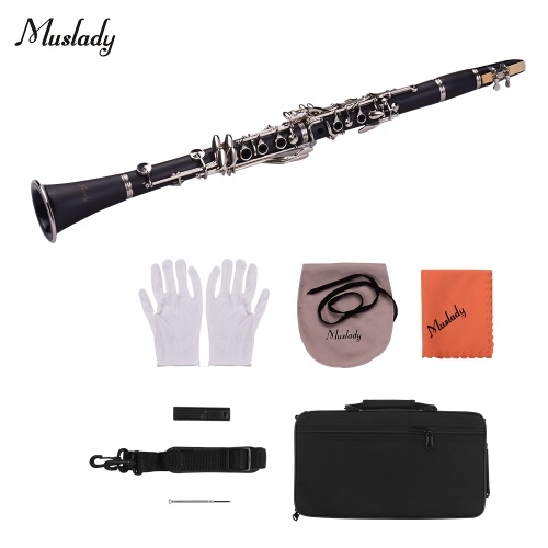 Muslady ABS 17-Key Clarinet Bb Flat with Carry Case Gloves Cleaning Cloth