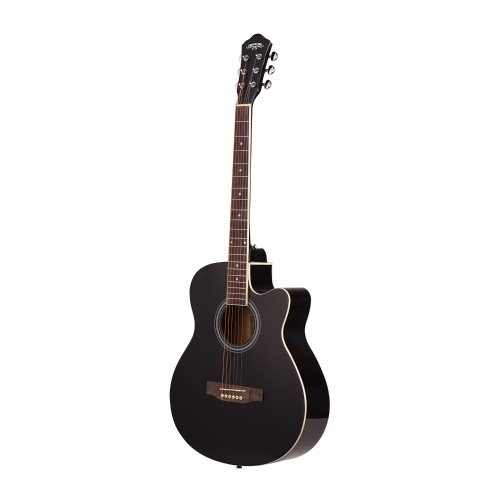40inch Cutaway Acoustic Folk Guitar 6 Strings Basswood with Strap Gig Bag Capo Picks