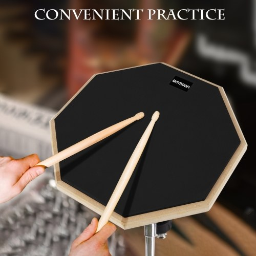 ammoon 12 Inch Drum Practic Pad Silent Drum with Drumstick Carry Bag for Drum Players Beginners