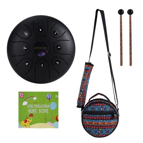ammoon 5.5 Inches Mini Steel Tongue Drum 8 Notes C-Key Handpan Drum Steel Pocket Drum Percussion Instrument with Mallets Carry Bag for Meditation Yoga Zazen Musical Education