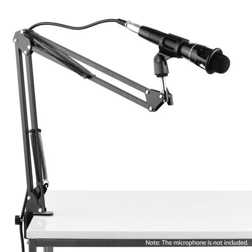 Soporte de soporte para micrófono Soporte perezoso de mesa con brazo extensible Clip para micrófono