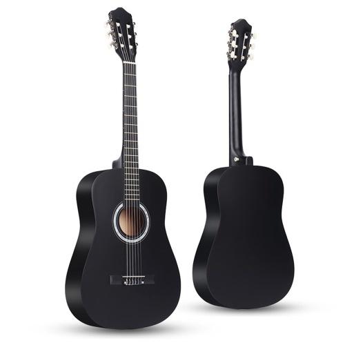 Guitare acoustique classique 38 '' Guitare en bois 6 cordes pour étudiants débutants (jaune)