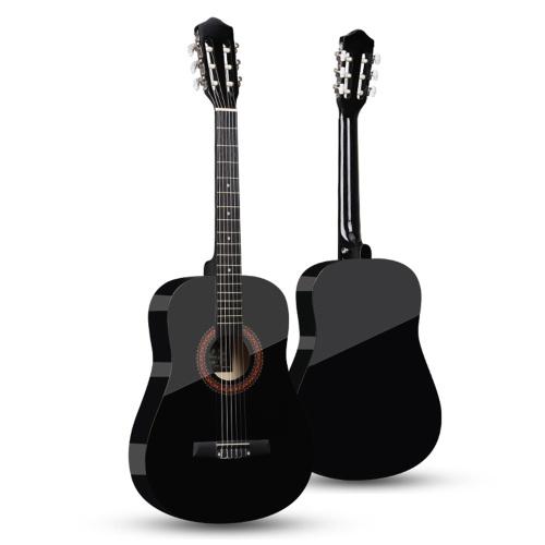 38-дюймовая классическая акустическая гитара, 6-струнная деревянная гитара для начинающих студентов (желтая)