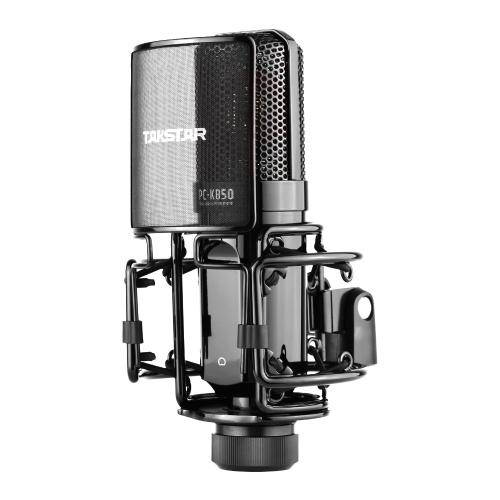 TAKSTAR PC-K850 Micrófono de grabación de dirección lateral Patrón de captación cardioide Micrófono de condensador con cable