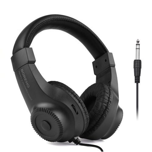Wired Stereo Monitor Headphones Over-ear Headset with 50mm Driver 6.5mm Plug