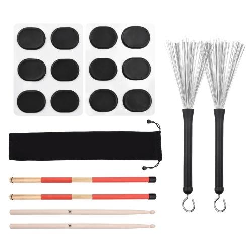 Drum Sticks Set 1 Paar einziehbare Drum Wire Brushes Drum Stick Brush 1 Paar 19-Rod Bamboo Drum Brushes Sticks 1 Paar 5A Classic Maple Wood Drumsticks 12 Stück Mute Pads für Jazz Folk Acoustic Music Lover