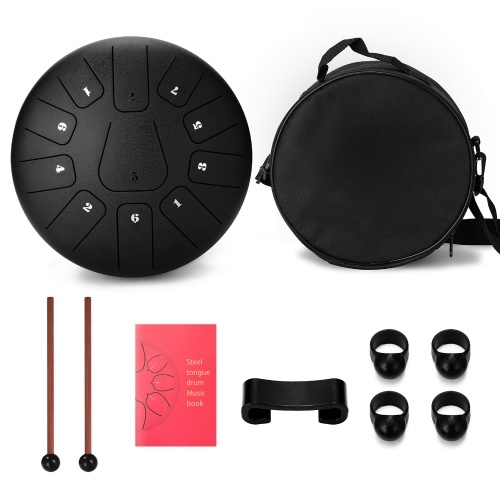 10 Zoll 11 Tone Steel Tongue Drum Hand Pan Drums mit Drumsticks Percussion Musikinstrumenten